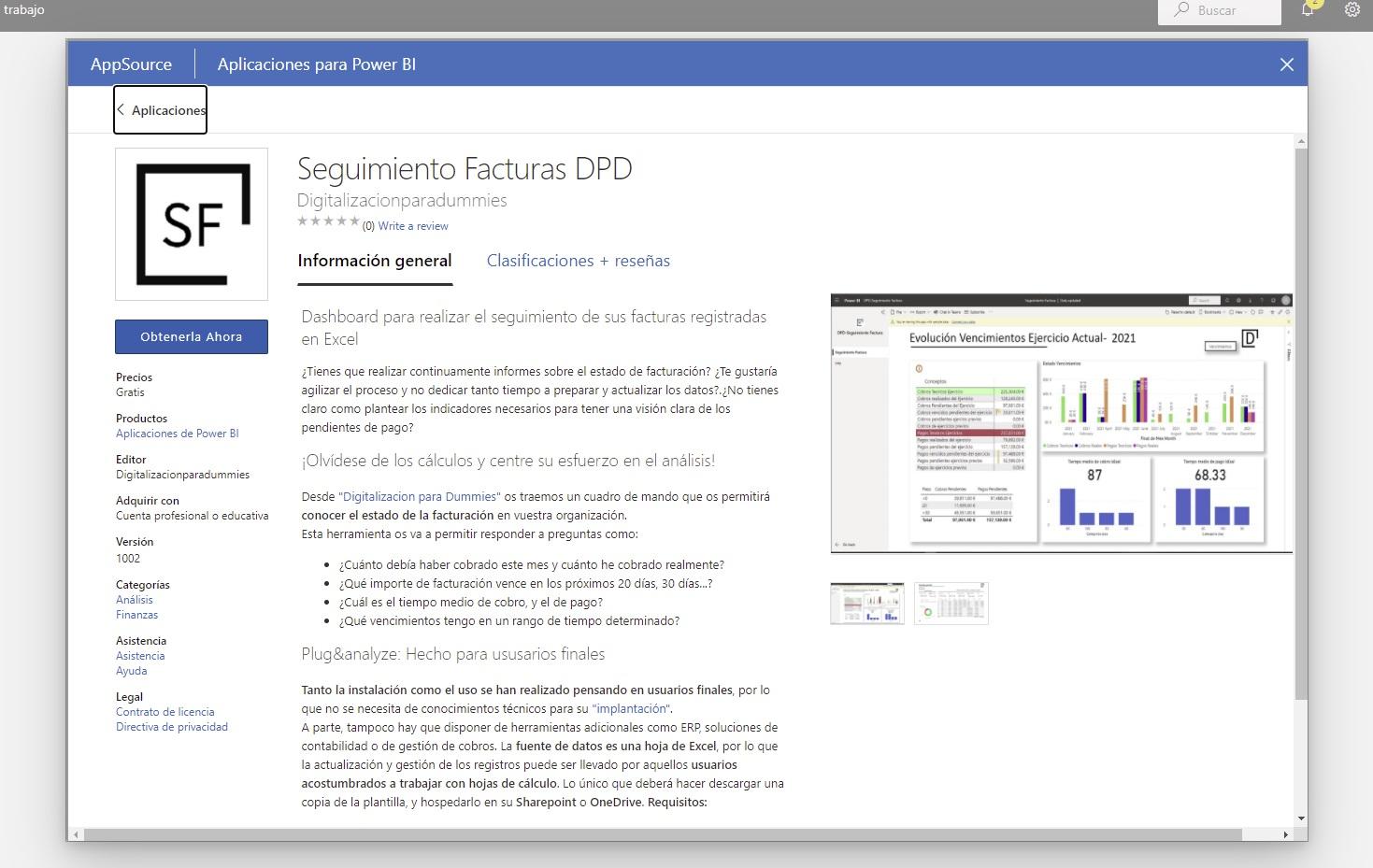 Microsoft AppStore PowerBI Seguimiento de facturas