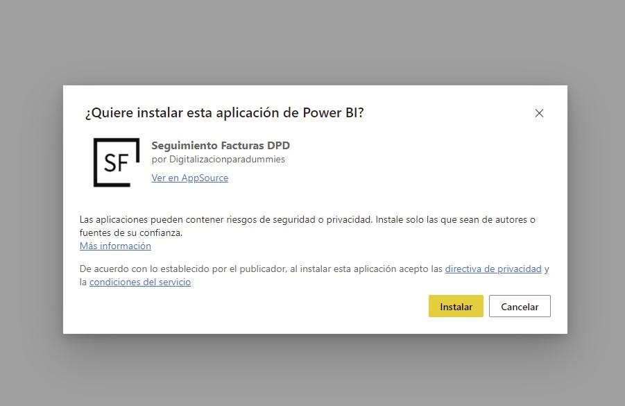 Formulario Microsoft AppStore para instalación SF